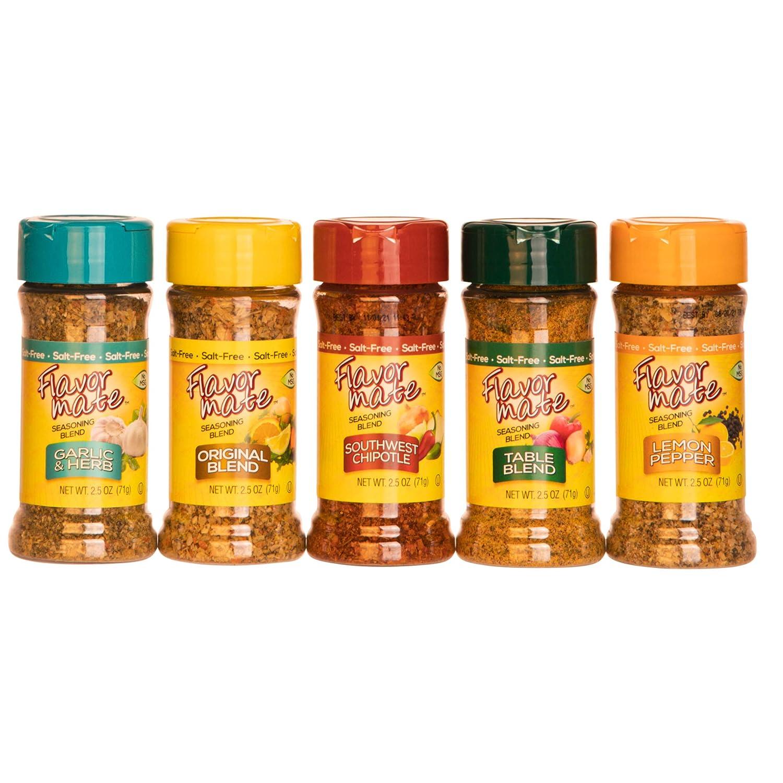 Flavor Mate No Salt Seasoning Blend - Variety Pack - Original ,Garlic and Herb ,Southwest Chipotle,Lemon & Pepper , Table Blend - 2.5 oz-Kosher