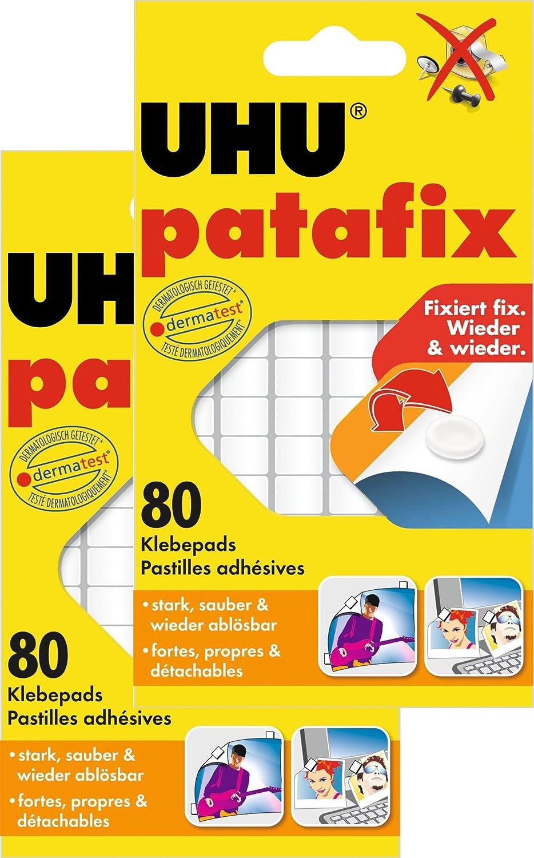 UHU 1648810 - Quadratini in pasta adesiva Patafix, 80 pezzi, colore: bianco 44810
