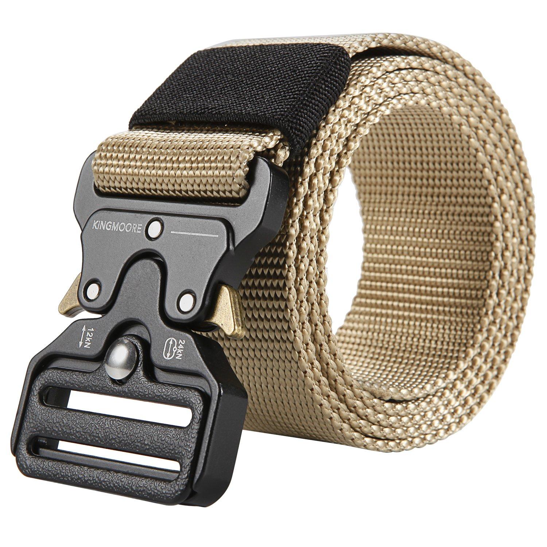 Men's Tactical Belt Heavy Duty Webbing Belt Adjustable Military Style Nylon Belts with Metal Buckle by KingMoore (Image #3)