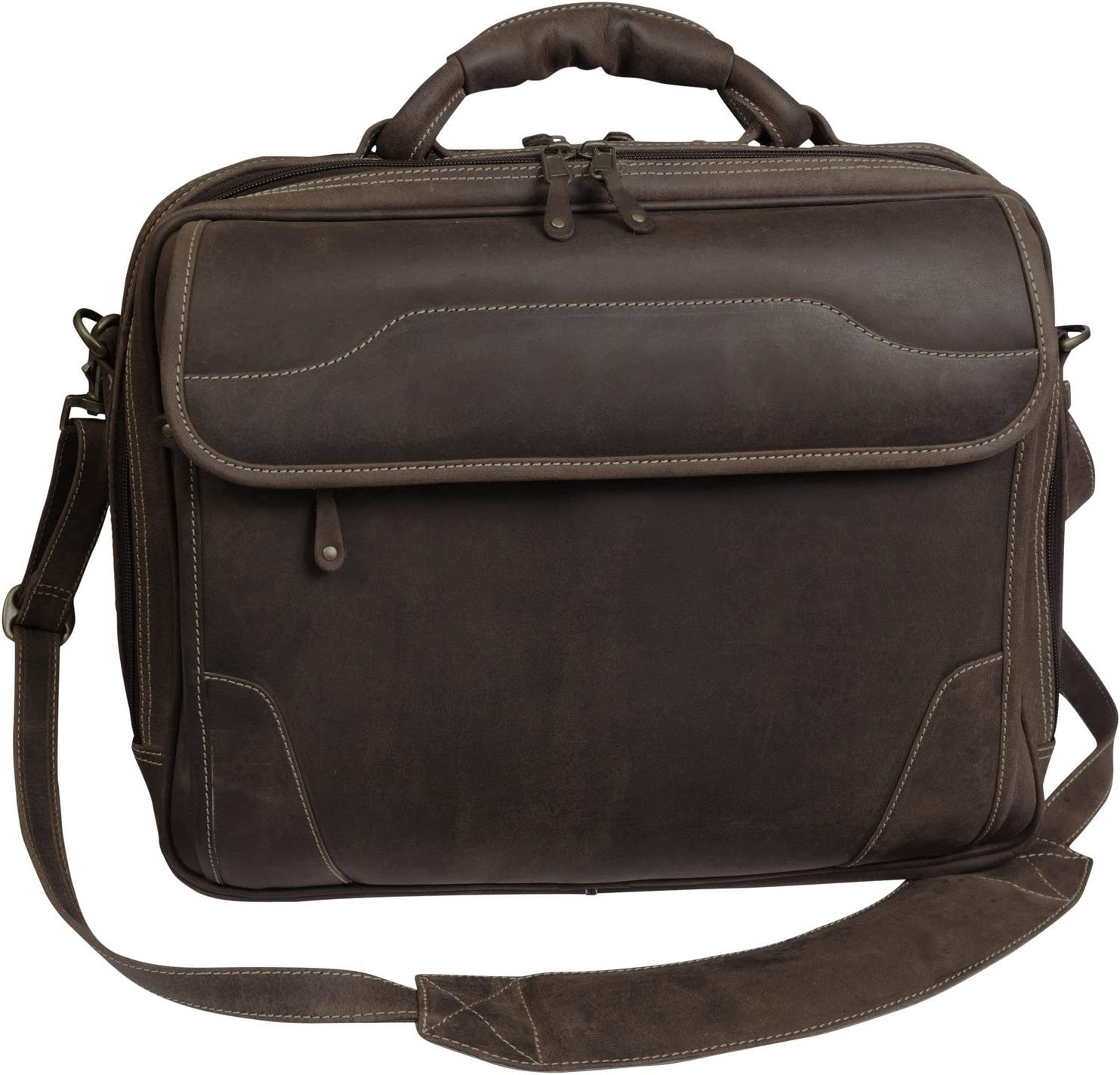 Canyon Outback Dakota Pines 14 Leather Computer Briefcase, Distressed Brown
