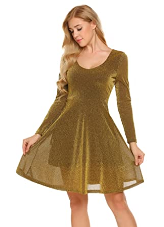 72454df0 Zeagoo Womens V-Neck Long Sleeve Mini Cocktail Party Prom Dress (Golden, L)  at Amazon Women's Clothing store:
