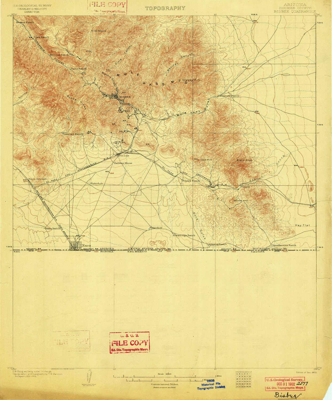 Topo Map Of Arizona.Amazon Com Yellowmaps Bisbee Az Topo Map 1 62500 Scale 15 X 15