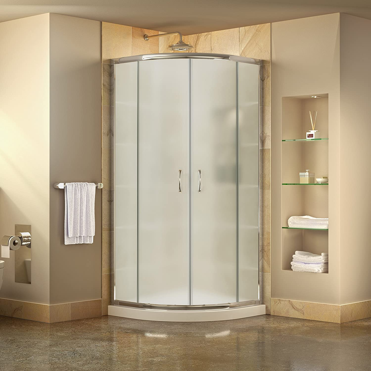 DreamLine Prime 33 in. D x 33 in. W Kit, with Corner Sliding Shower ...