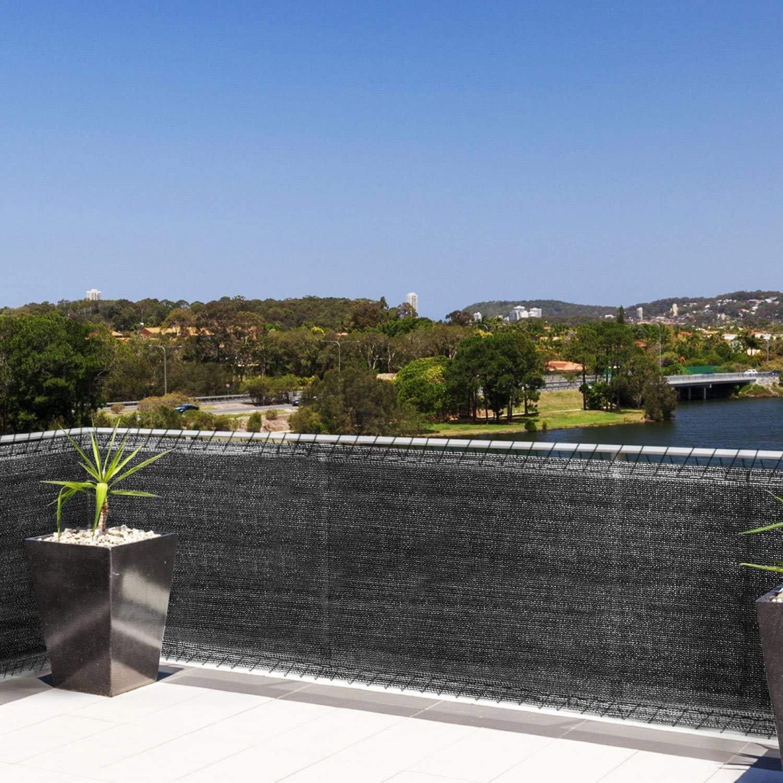 WOLTU Pantalla para balcón Protección de privacidad HDPE Instalación Rápida para Balcón, Jardín, Piscina 150 g/m² 2x6m Color Antracita GZZ1223an01