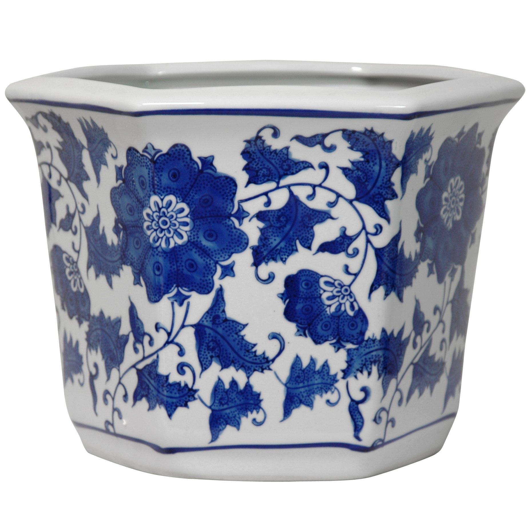 Oriental Furniture 10'' Floral Blue & White Porcelain Flower Pot