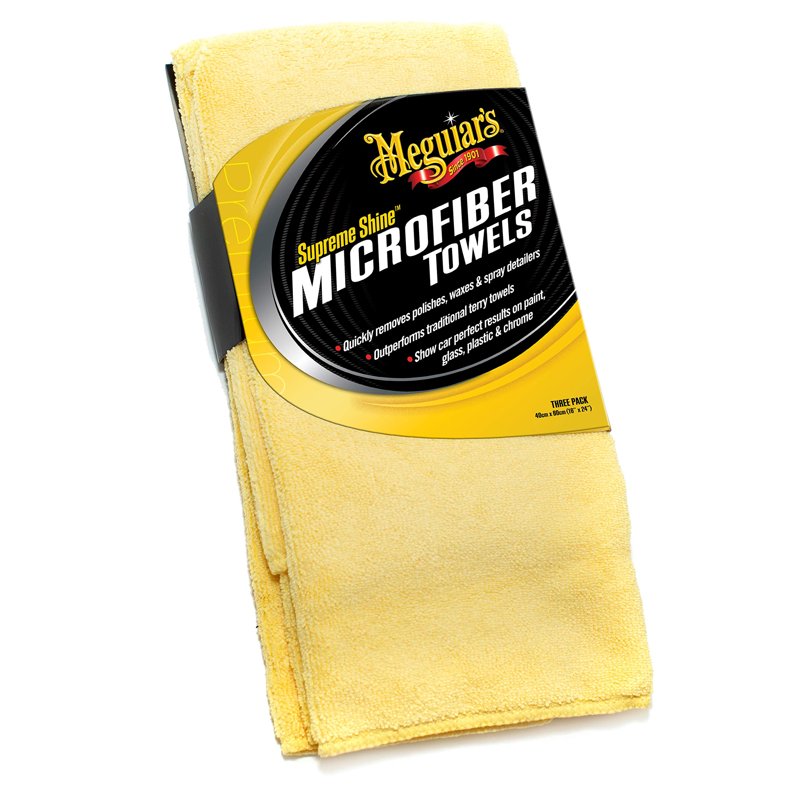 Meguiar's X2020 Supreme Shine Microfiber Towels, Pack of 3,Yellow