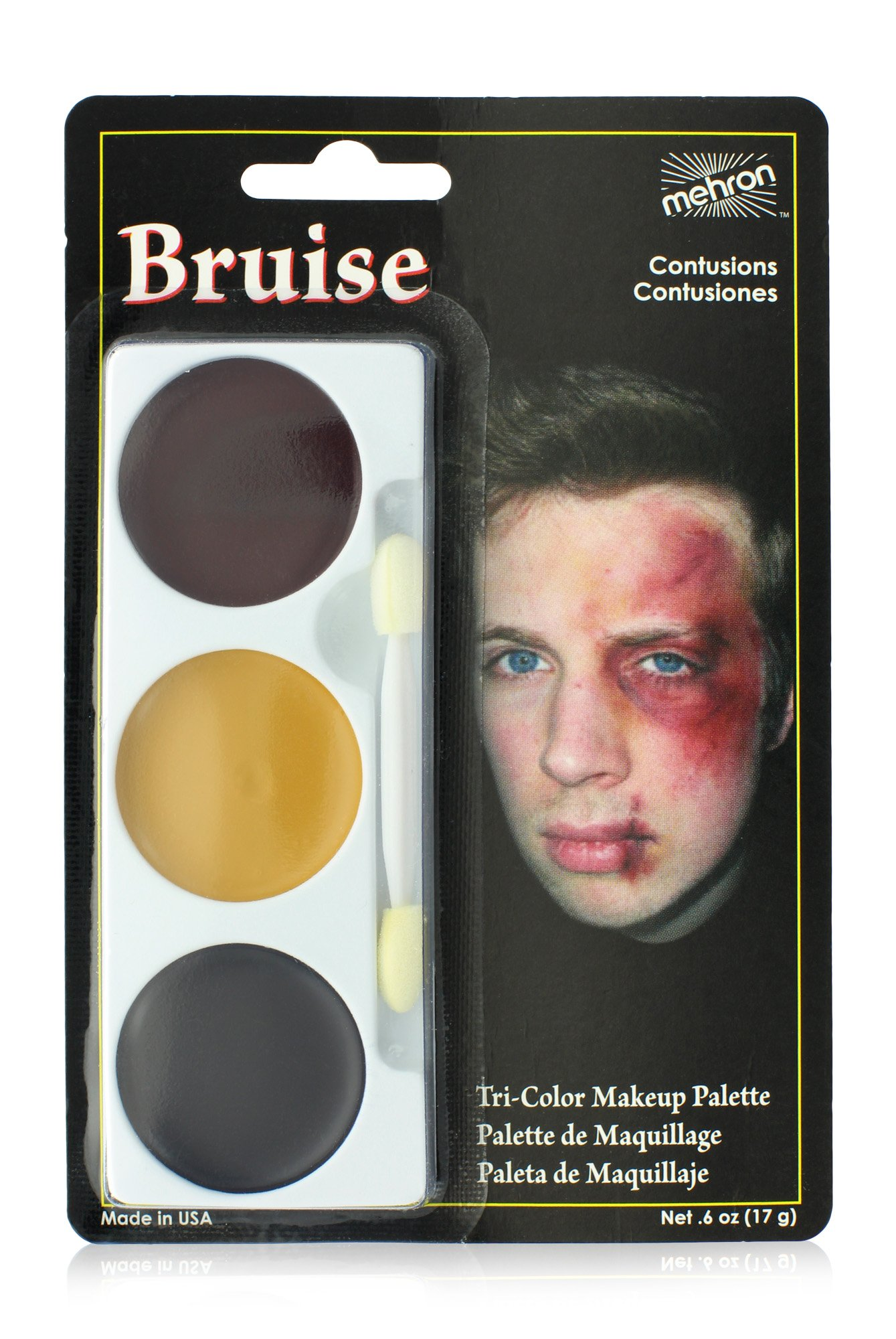 Mehron Makeup Tri-Color Halloween Makeup Palette (BRUISE)