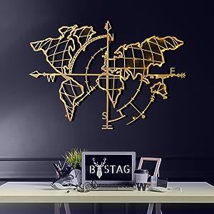 "Tubibu Modern Wall Art, 100% Metal - Metalic World Map,- Size (26"" x 38"") - Map of Life, Metal Wall Art, World Map and Compass Themed Wall Decor Home Gift Housewarming Gift Wedding Gift (Gold)"