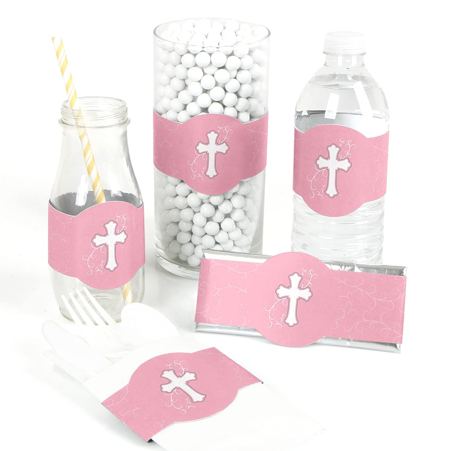 Little Miracle Girl Pink & Gray Cross   Diy Party Supplies   Baptism Party Diy Wrapper Favors & Decorations   Set Of 15 by Big Dot Of Happiness