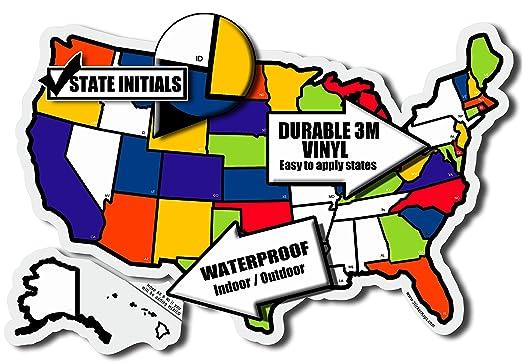 RV Travel USA State Sticker Map Standard Size Amazoncouk - Us state sticker map