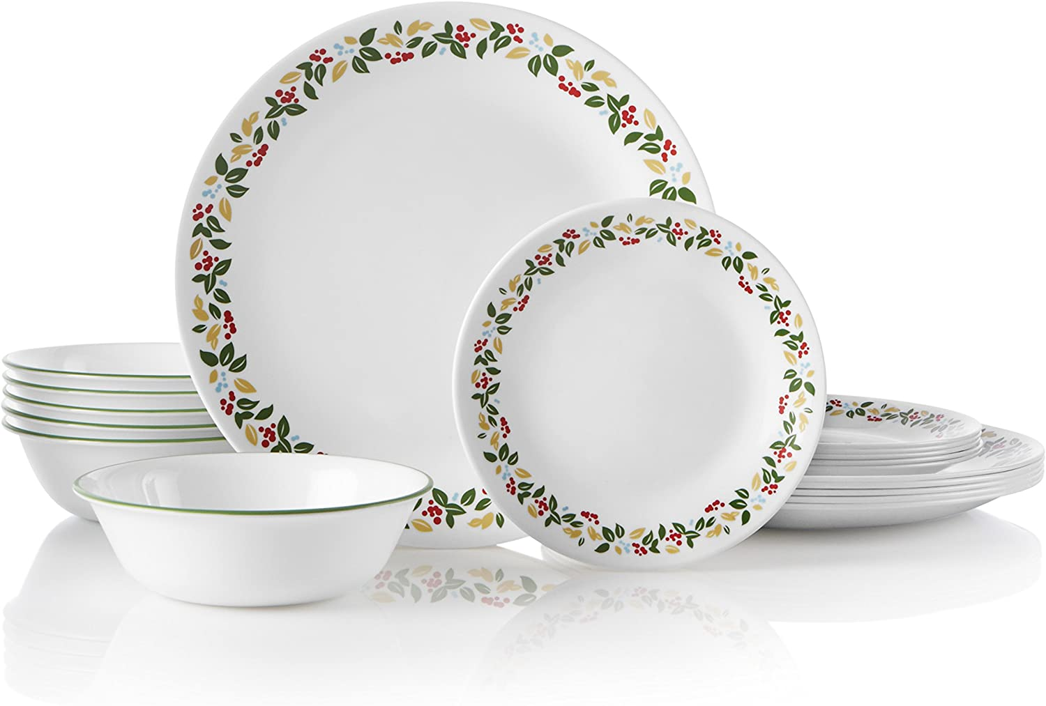 Corelle Service for 6, Chip Resistant, Holiday Berries dinnerware sets, 18-piece