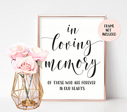 In Loving Memory Sign Memorial Table Sign For Wedding Wedding Day