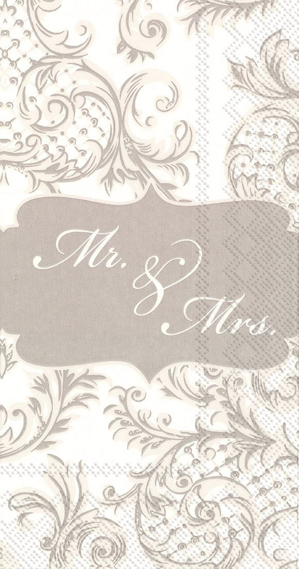 Ideal Home Range 16 Count Paper Guest Towel Napkins, Mr & Mrs Wedding