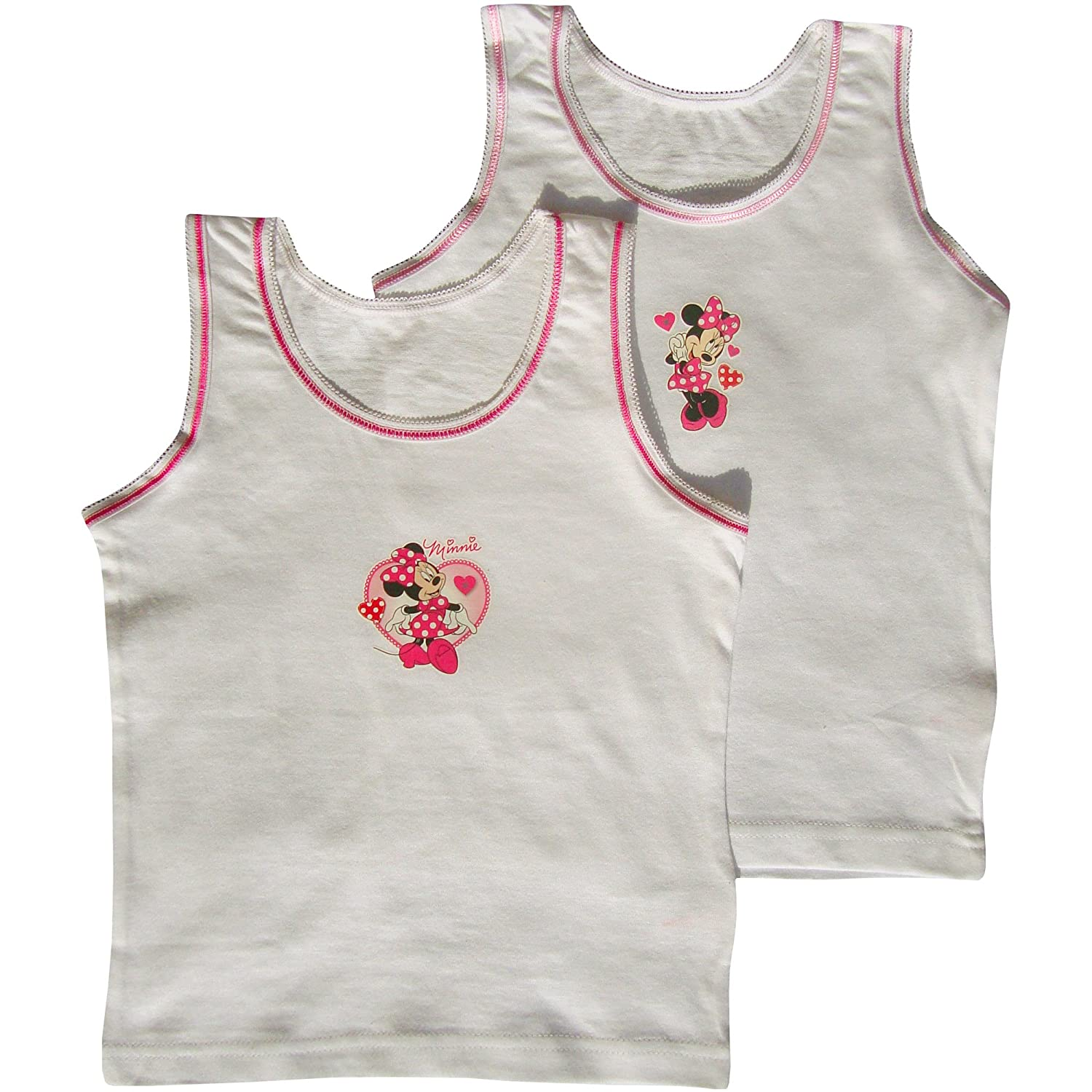 Girl's Disney Minnie Mouse White Summer Sun Vests (Set of 2)