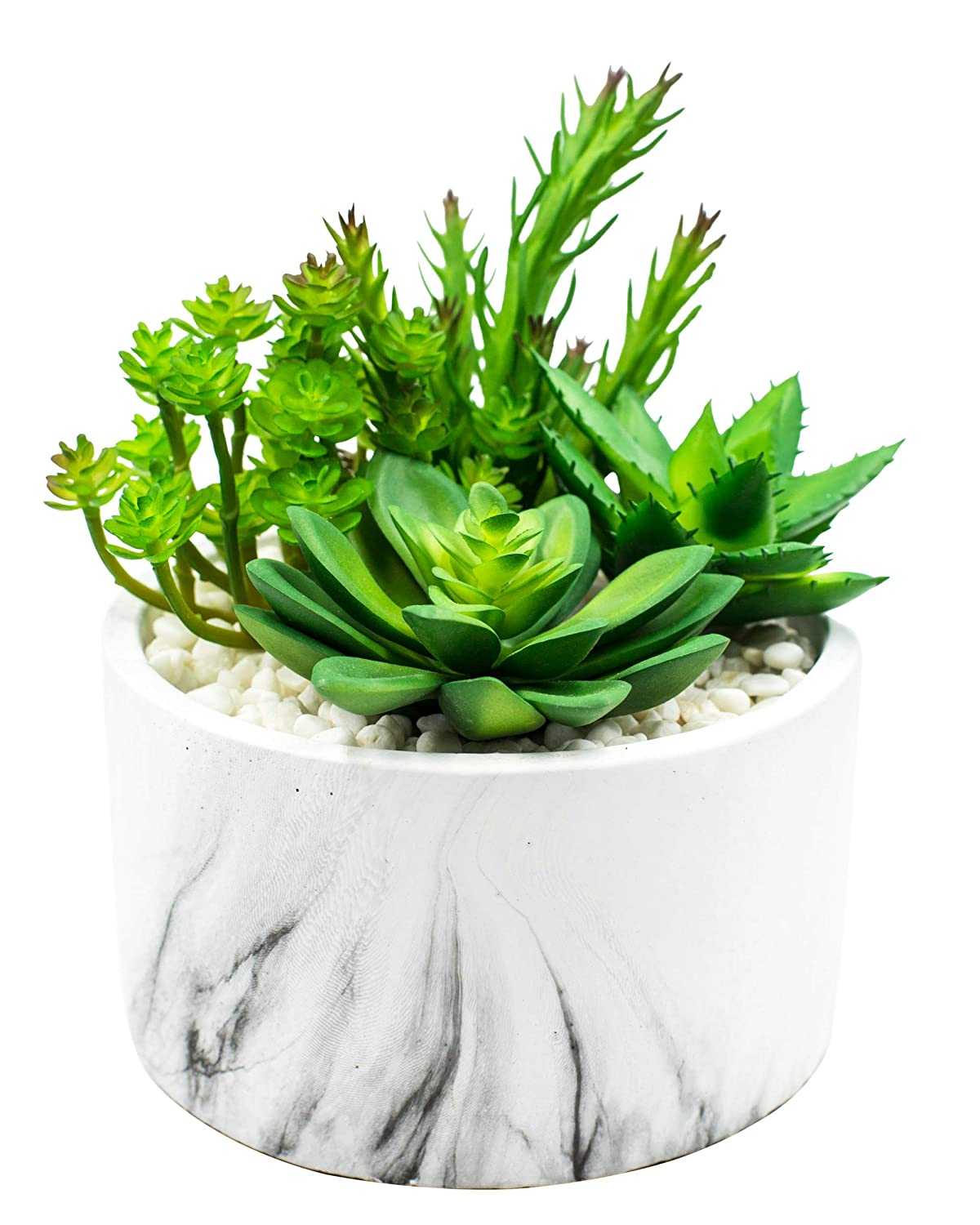 Stylish Cement Planter with Artificial Desert Plants. Premium Home Decor for Easy No-Maintenance Greenery. Hand Crafted Marble Look for High End Appearance. Fake Cactus in Attractive Marble Pot (1)