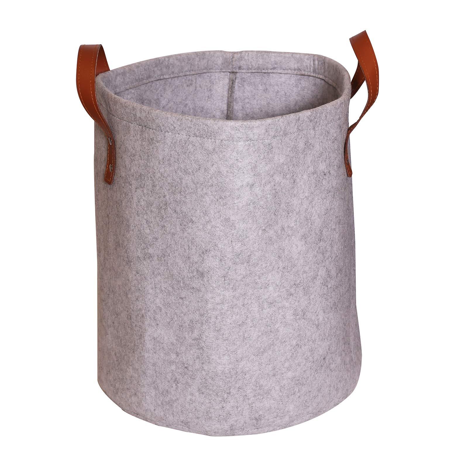 Estorager Round Felt Storage Baskets Bins with Leather Handles, Folding Home Box Organizers 35 Liter (Round LightGray)