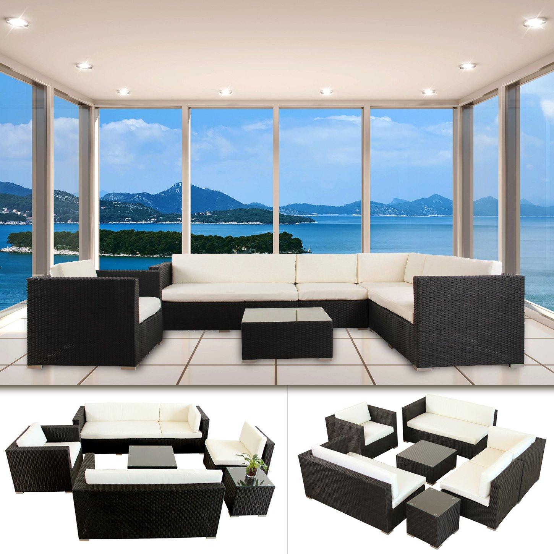 Napoli Polyrattan Schwarz Gartenmöbel Rattan Lounge Gartenset