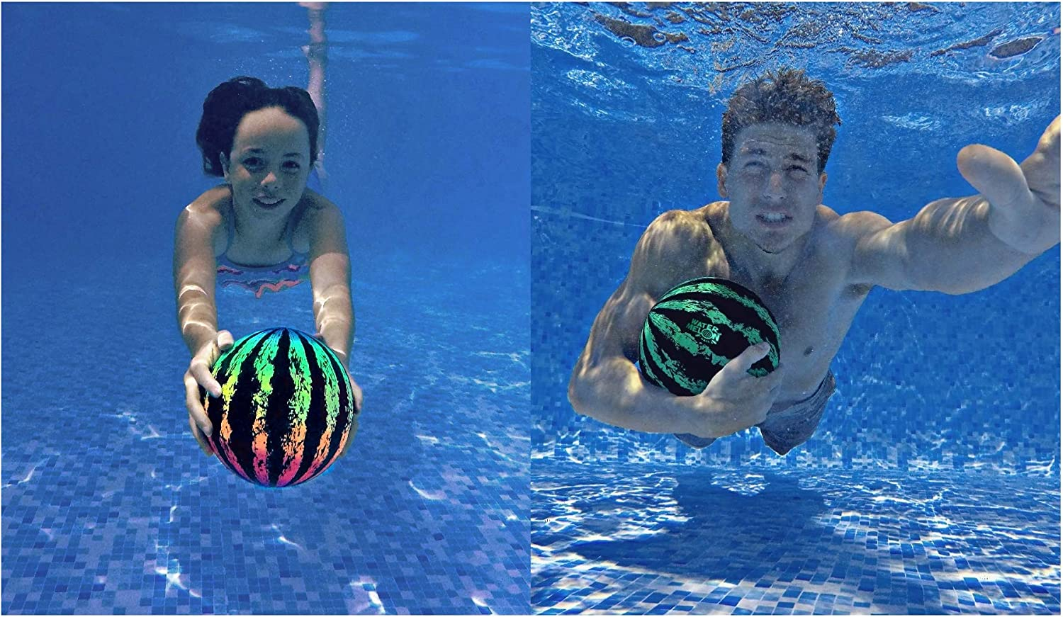 3 Pieces Watermelon Pool Ball Swimming Pool Ball Watermelon 6.5 Inch Ball Fills with Water with Hose Adapter for Underwater Passing Dribbling Diving Water Pool Games for Teens Adults