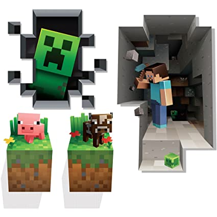 dde083ff3003 Amazon.com  JINX Minecraft Wall Cling Decal Set (Creeper