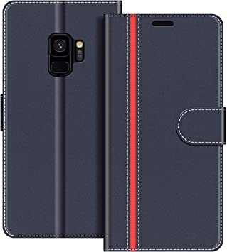 COODIO Coque en Cuir Samsung Galaxy S9, Étui Téléphone Samsung S9, Housse Pochette Galaxy S9 Fonction Stand Etui Coque pour Samsung Galaxy S9, Bleu ...
