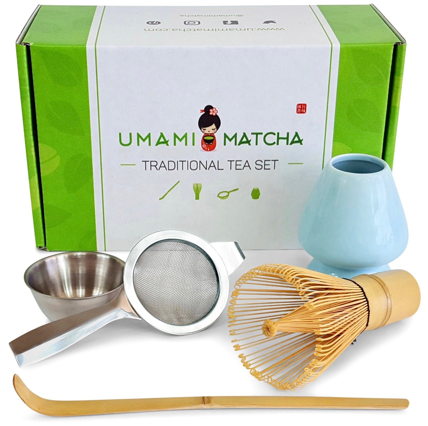 UMAMI MATCHA Tea Set | Traditional Bamboo Matcha Whisk & Scoop | Stainless Steel Sifter | Ceramic Blue Whisk Holder | Best Authentic Matcha Kit For Japanese Matcha Green Tea Ceremony