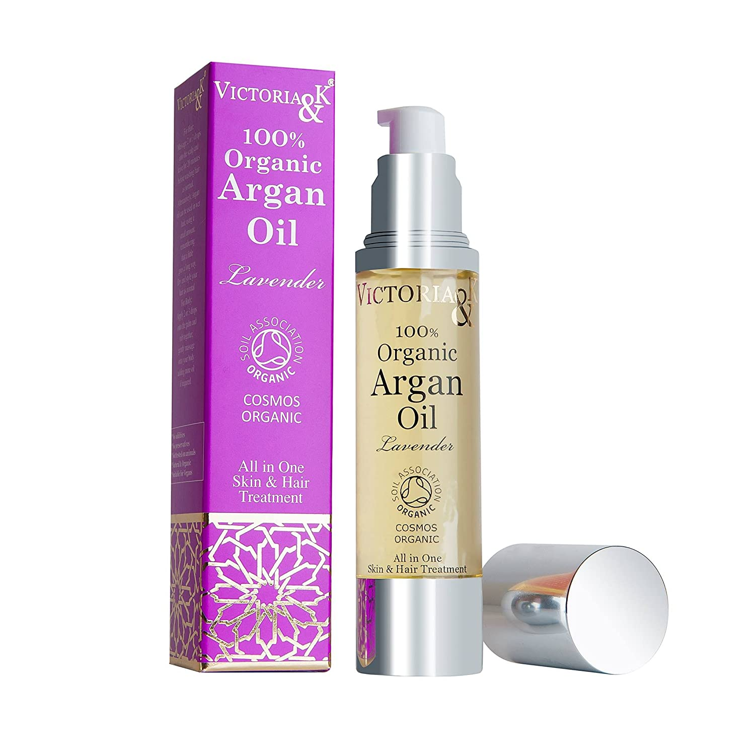 Best Pure Organic Moroccan Argan Oil | Premium Quality for Moisturising Beard, Body, Cuticles, Scalp, Face, Hair, Skin & Nails | For All Dry Skin Conditions, even Acne, Psoriasis, Eczema | Vegan Victoria & K