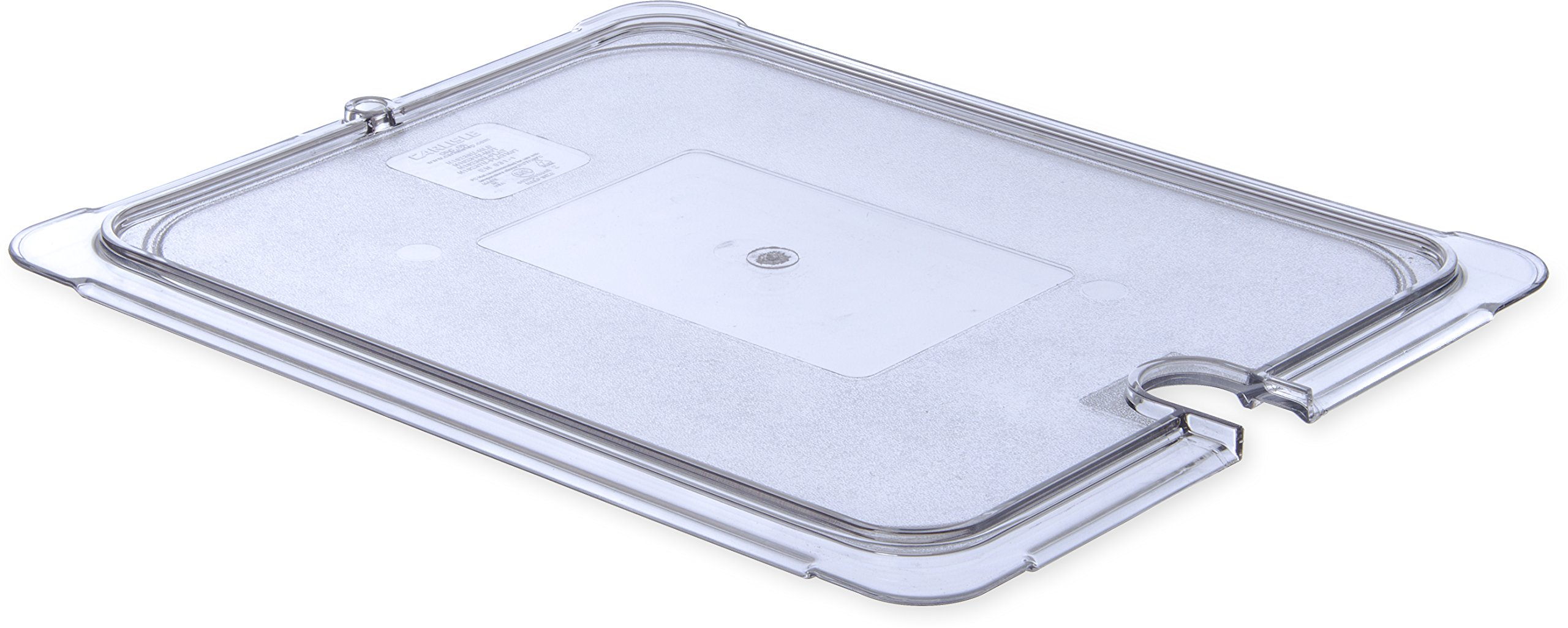 Carlisle 10237U07 Polycarbonate Universal Flat Notched Lid, 12-3/4 x 10-3/8  x 7/16'', Clear, For TopNotch One-Half Size Food Pans (Case of 6)