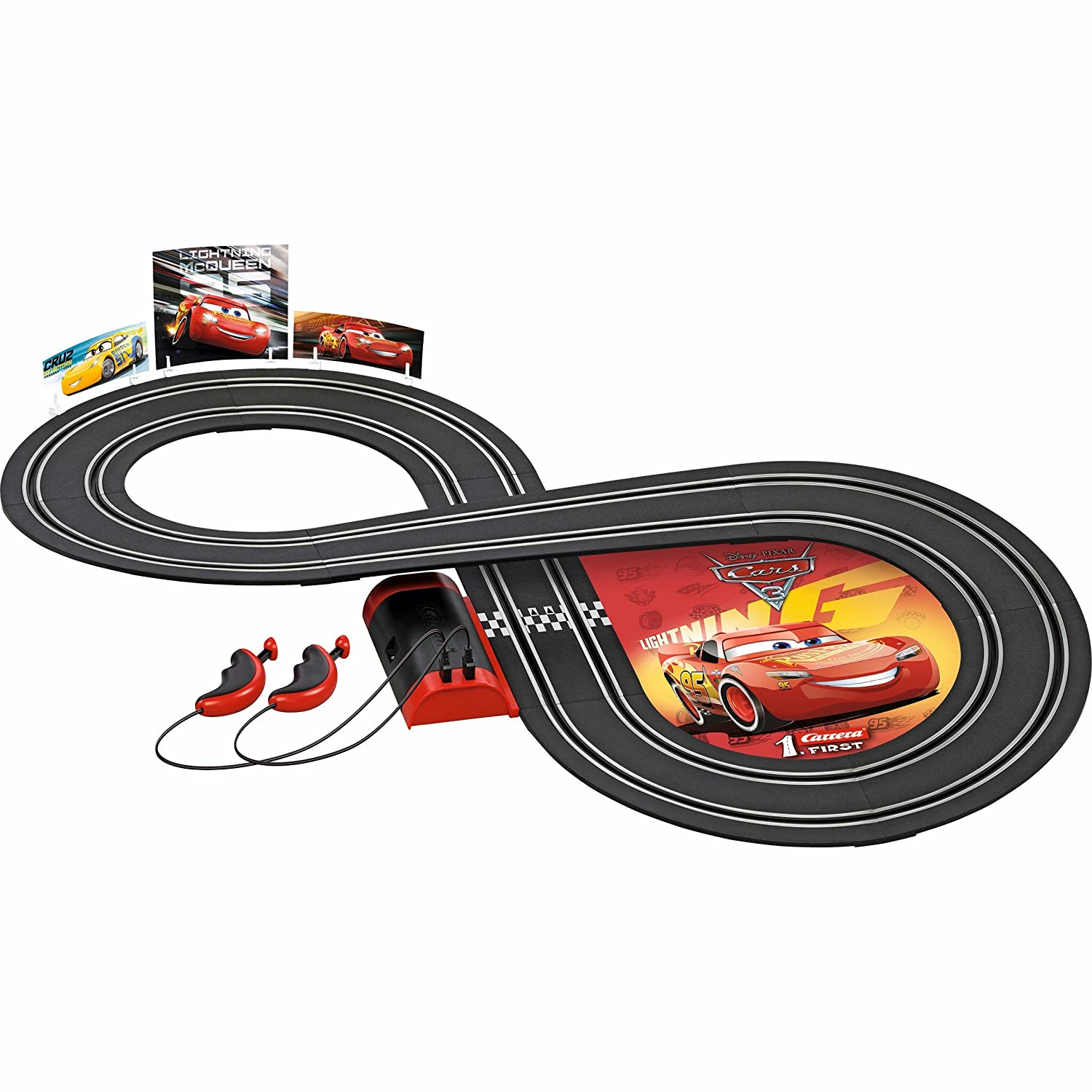 amazon com: carrera first disney/pixar cars 3 - slot car race track -  includes 2 cars: lightning mcqueen and dinoco cruz - battery-powered  beginner racing