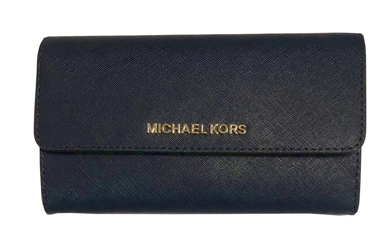 Michael Kors Jet Set Travel Large Trifold Wallet Saffiano Leather (Navy/Floral)