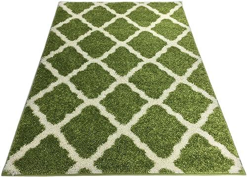 SOHO Shaggy Collection Trellis Lattice Design Shag Area Rug Rugs 3 Color Options Green, 2 x 3