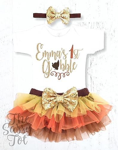 67cf2068de13 Amazon.com: Baby Girls 1st Thanksgiving Outfit, Personalized First  Thanksgiving Outfit: Handmade