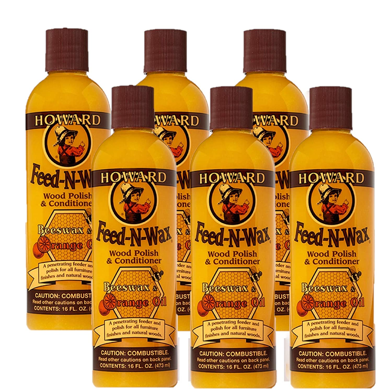 Howard Products Feed-N-Wax Wood Polish & Conditioner, Orange (6, 16 oz)