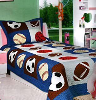 Mk Collection 3pc Bedspread Boys Sport Football Basketball Baseball New Queen