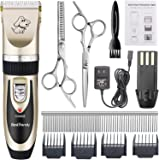 BestTrendy Professional Cat Dog Clippers, Low Noise Rechargeable Cordless Electric Pet Grooming Tool Kit Hair Trimmer Razor Blades with Combs, Scissors, Clean Brush for Animals (Gold+Black)