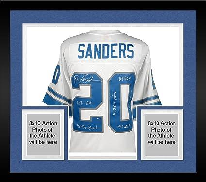 check out 9a48a 5d16c Framed Barry Sanders Detroit Lions Autographed White ...