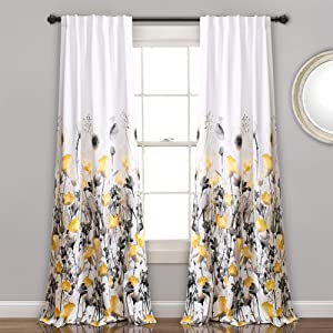"Lush Decor, Yellow and Gray Zuri Flora Curtains Room Darkening Window Panel Set for Living, Dining, Bedroom (Pair), 84"" x 52, 84"" x 52"""