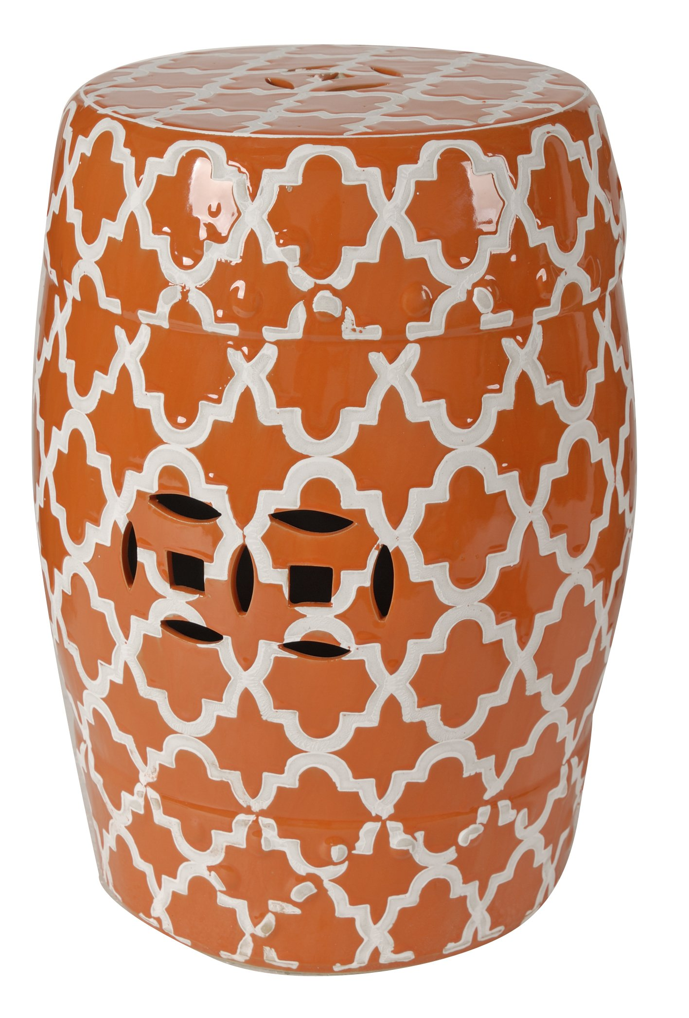 A&B Home 69634-ORAN Finley Indoor/Outdoor Patterned Stool, Orange