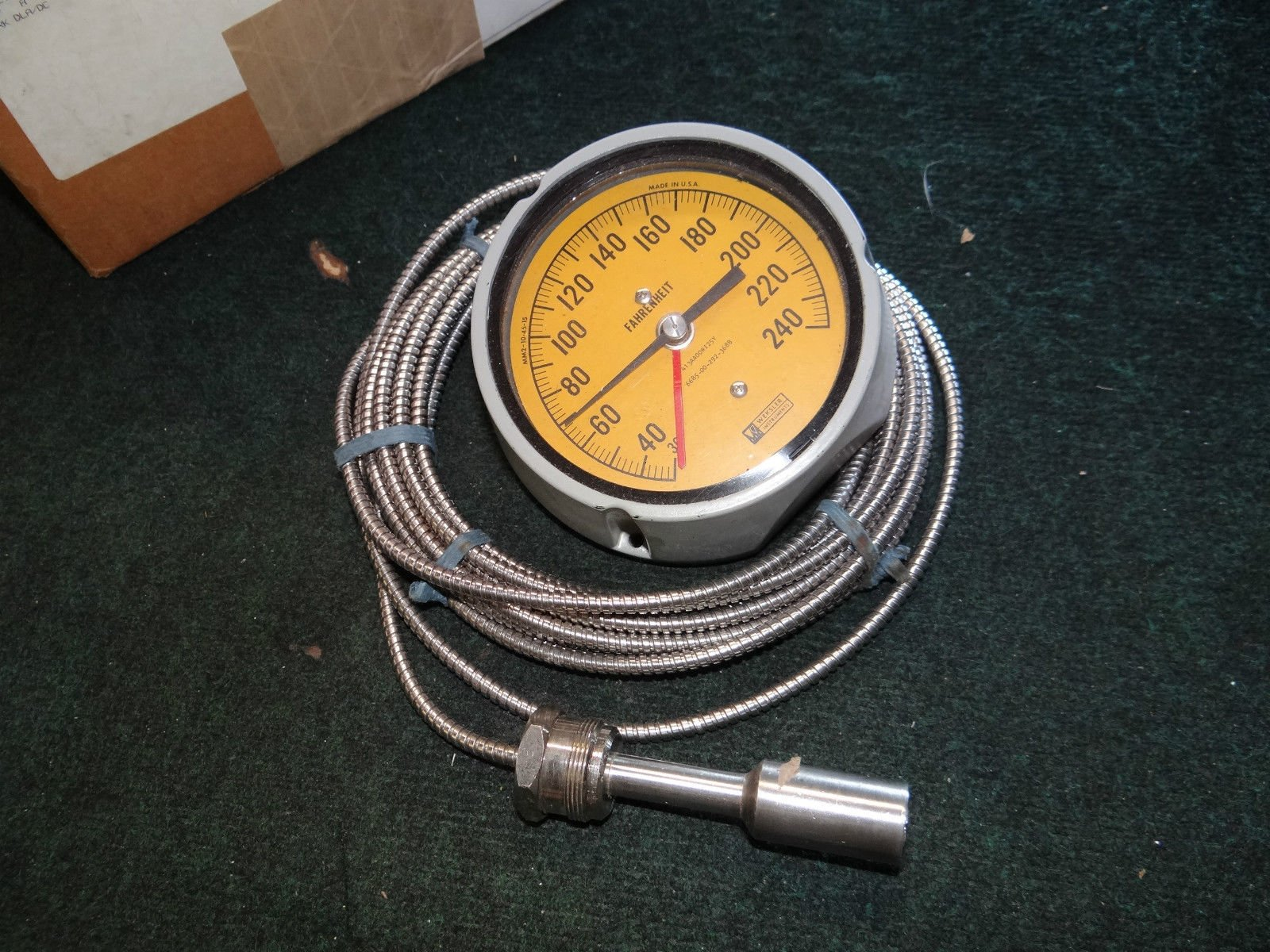 Weksler Fahrenheit Thermometer Indicating Capillary Tube & Bulb 6685-00-292-3688
