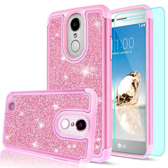 low priced ecd5d 89172 LG Aristo Case,LG Risio 2 Case,LG Phoenix 3/ Fortune/Rebel 2 LTE/ K8 2017  Case with HD Screen Protector for Girl Women,LeYi Glitter Cute [PC Silicone  ...