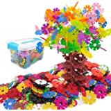 AGARE Brain Flakes 500 Piece Set Snowflakes Connect Interlocking Plastic Disc / A Creative and Educational building Building block Toy / All Material Environmental Health for Children's Safety