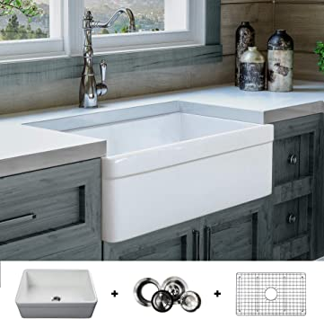 Luxury 30 Inch Modern Farmhouse Ultra Fine Fireclay Kitchen Sink In White Single Bowl Belted Front Includes Grid And Drain Fsw1004 By Fossil Blu Amazon Com