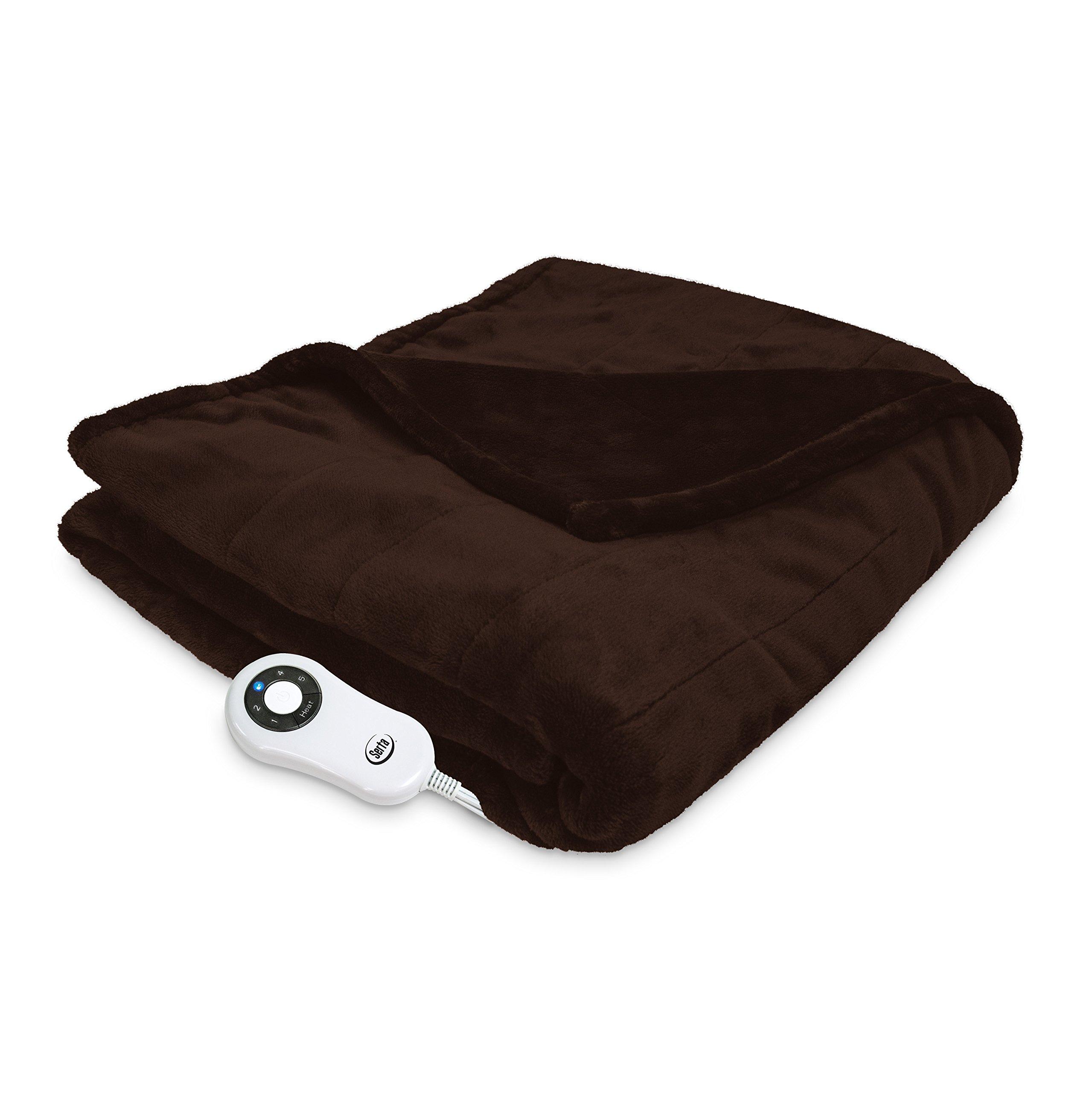 Serta 861058 Silky Plush Heated-with 5 Setting Controller, 40'' x 70'', Chocolate