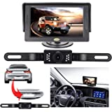 Backup Camera and Monitor Kit for Car,Universal Wired Waterproof Rear-View License Plate Car Rear Backup Camera + 4.3…