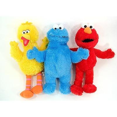 "Sesame Street - Elmo and Friends 3 Piece 13"" Plush Set - Includes Elmo, Cookie Monster and Big Bird: Toys & Games"
