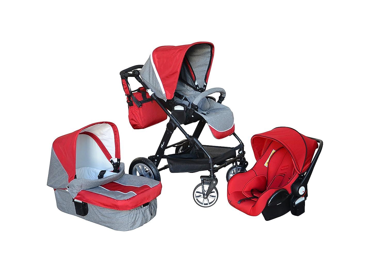 Papilioshop Thuo - Trío modular de carrito y silla para bebés con certificado, moisés, bolsa, protector para la lluvia y mosquitera incluidos, diseño ligero ...