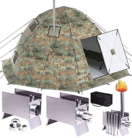 Russian-Bear Winter Tent with Stove Pipe Vent  Hunting Fishing Outfitter  Tent with Wood Stove  4 Season Tent  Expedition Arctic Living Warm Tent   for