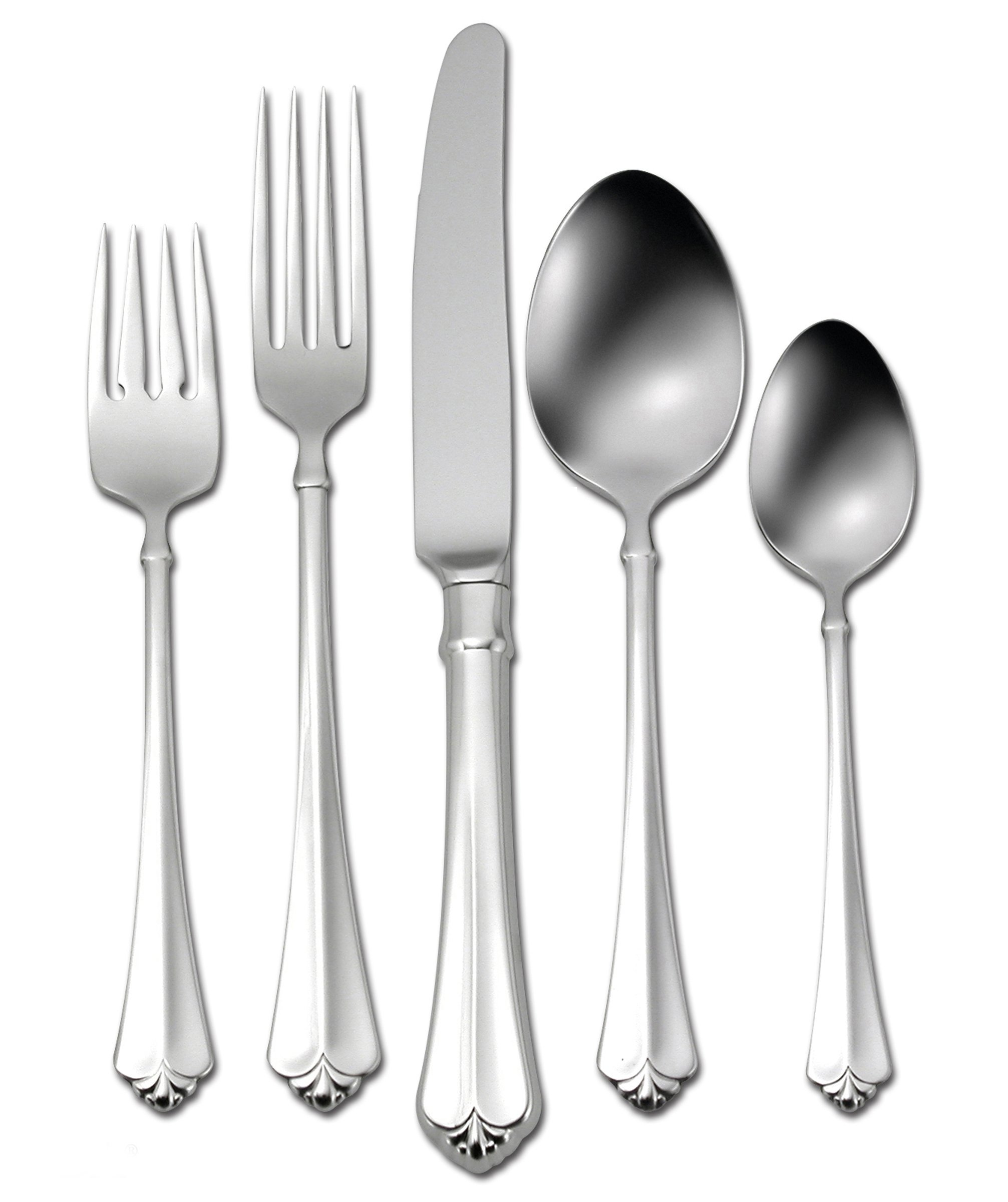 Oneida Julliard 20-Piece Flatware Set, Service for 4 - 20-piece flatware set with service for 4. Set includes 4 each: place knife, place fork, place spoon, salad/dessert fork, and teaspoon 18/10 stainless steel. Durable and stylish Tasteful. Transitional. Timeless. A traditional pattern with modern appeal, Juilliard is noted for its sculptured fleur-de-lis detail and gracefully stylized handle. This popular design works well with many different dinnerware designs. - kitchen-tabletop, kitchen-dining-room, flatware - 81AIJ oBPEL -