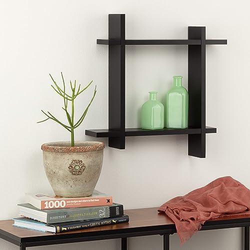 Burnes of Boston Interlocking Wall Mounted Storage Cube, Black Floating Shelf
