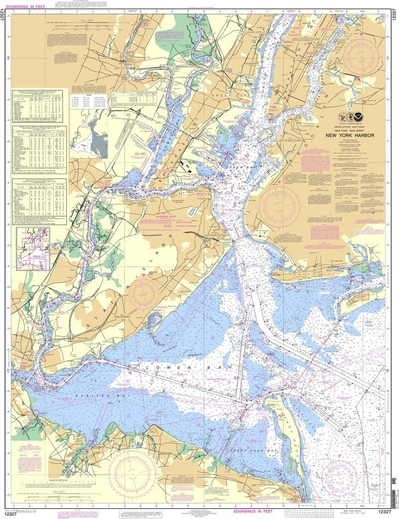 Amazon com noaa chart 12327 new york harbor sports outdoors