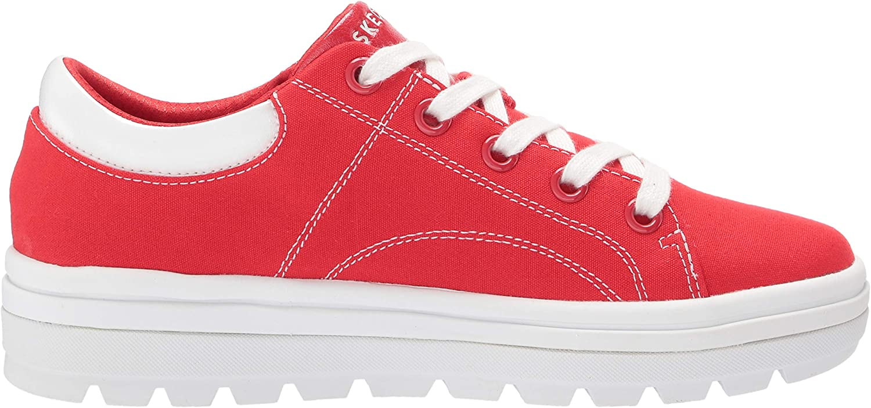 Skechers Damen Street Cleat-Bring It Back Sneaker Red Canvas White Duraleather Trim Red